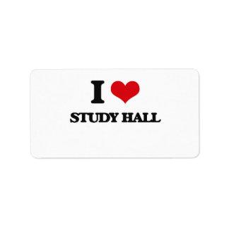 I love Study Hall Address Label