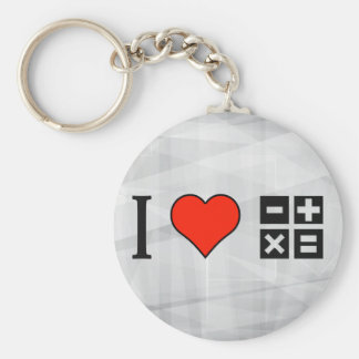 I Love Studying Mathematics Basic Round Button Keychain