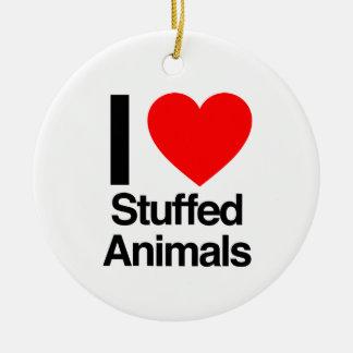 i love stuffed animals ceramic ornament