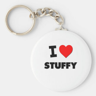 I love Stuffy Basic Round Button Keychain
