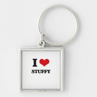 I love Stuffy Silver-Colored Square Keychain