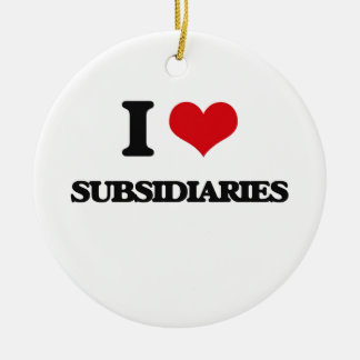 I love Subsidiaries Double-Sided Ceramic Round Christmas Ornament