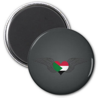 I Love Sudan -wings 2 Inch Round Magnet