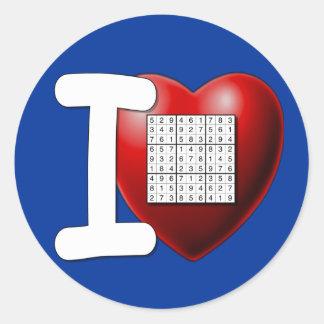 I Love Sudoku Classic Round Sticker