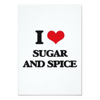 """I love Sugar And Spice 3.5"""" X 5"""" Invitation Card"""