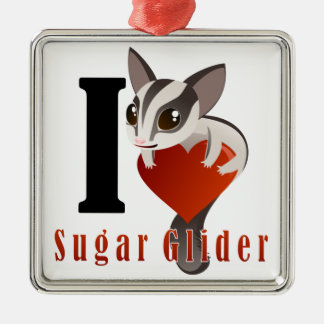 I Love Sugar Glider Metal Ornament