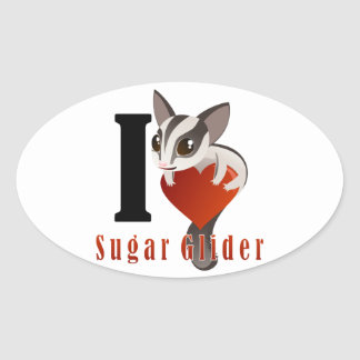 I Love Sugar Glider Oval Sticker