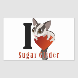 I Love Sugar Glider Rectangular Sticker