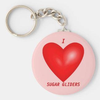 I Love Sugar Gliders Basic Round Button Keychain
