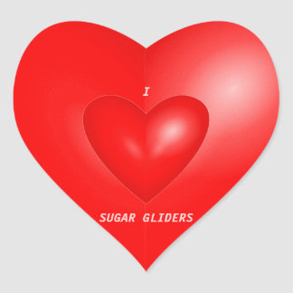 I Love Sugar Gliders Heart Sticker