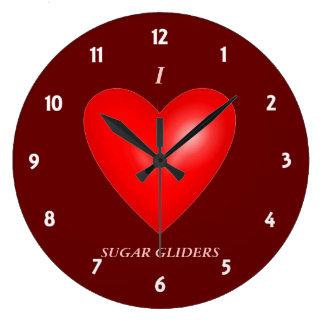 I Love Sugar Gliders Large Clock