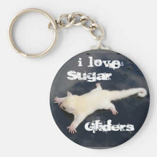 I Love  Sugar Gliders =Outbackgliders.com, Basic Round Button Keychain