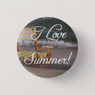 """""""I Love Summer"""" Beach Scene Button"""