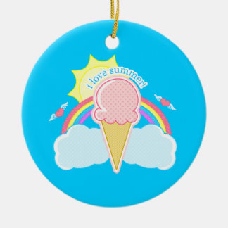 """I Love Summer"" Ice Cream Cone Ceramic Ornament"