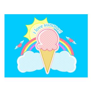 """I Love Summer"" Ice Cream Cone Postcard"