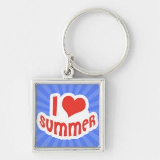 I Love Summer on Blue Sunrays Keychain
