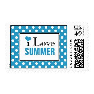 I Love Summer Polka Dot Blue Postage Stamps
