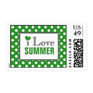 I Love Summer Polka Dot Green Postage Stamps