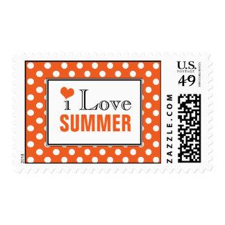 I Love Summer Polka Dot Orange Postage Stamps