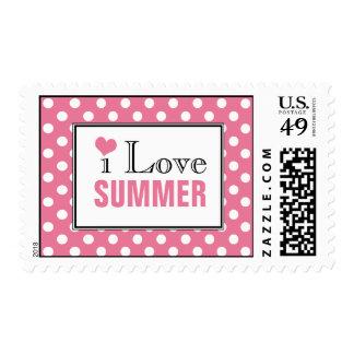 I Love Summer Polka Dot Pink Postage Stamps