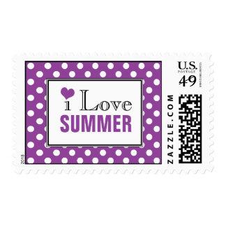 I Love Summer Polka Dot Purple Postage Stamps