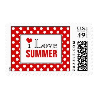 I Love Summer Polka Dot Red Postage Stamps