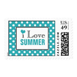 I Love Summer Polka Dot Turquoise Postage Stamps