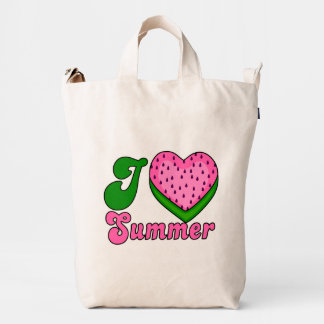 I love summer, watermelon heart,funny summer duck canvas bag