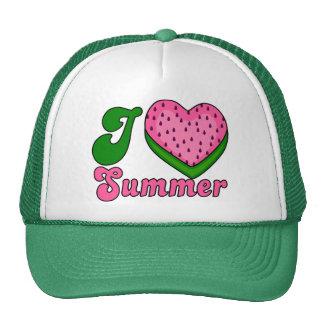 I love summer, watermelon heart trucker hat