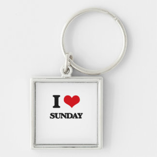 I love Sunday Silver-Colored Square Keychain