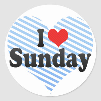 I Love Sunday Round Sticker