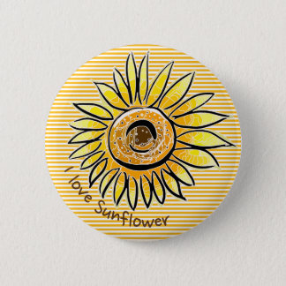 I love Sunflower Pinback Button