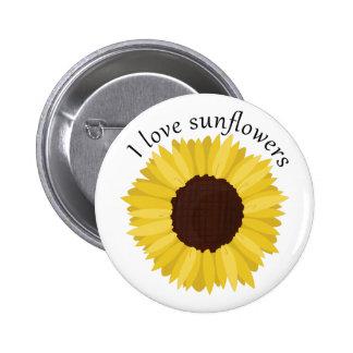 I Love Sunflowers Button