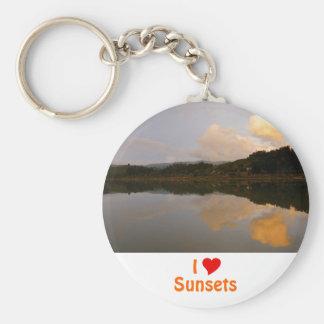 I Love Sunsets Basic Round Button Keychain