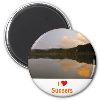 I Love Sunsets 2 Inch Round Magnet