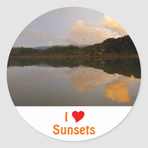 I Love Sunsets Round Stickers