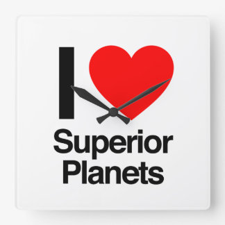 i love superior planets square wall clock