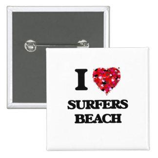 I love Surfers Beach California 2 Inch Square Button