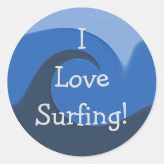 """I Love Surfing"" - 'Blue Tide' [1] Classic Round Sticker"
