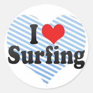 I Love Surfing Classic Round Sticker