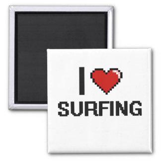 I Love Surfing Digital Retro Design 2 Inch Square Magnet
