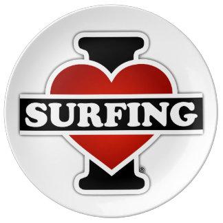 I Love Surfing Dinner Plate