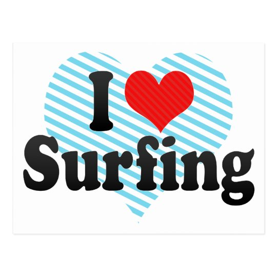 I Love Surfing Postcard
