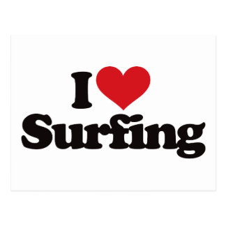 I Love Surfing Postcard