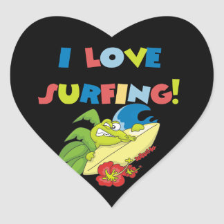 I Love Surfing T shirts and Gifts Heart Sticker