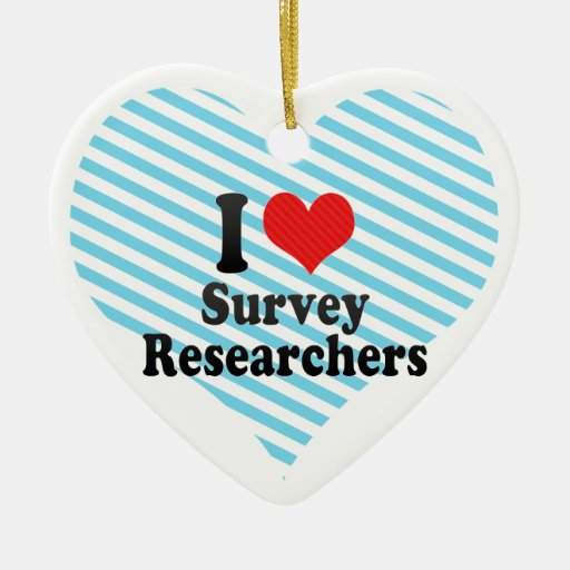 I Love Survey Researchers Double-Sided Heart Ceramic Christmas Ornament