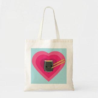I Love Sushi Kawaii Sushi Roll Budget Tote Bag