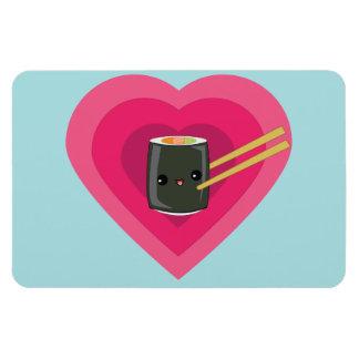 I Love Sushi Kawaii Sushi Roll Rectangular Photo Magnet