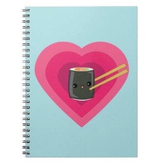 I Love Sushi Kawaii Sushi Roll Spiral Notebook