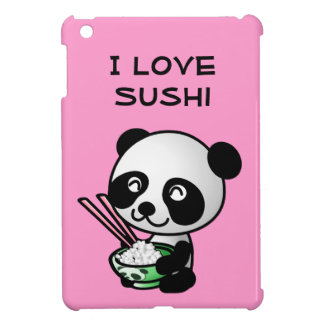 I Love Sushi Panda Bear Bowl Chopsticks Cute Pink iPad Mini Cover
